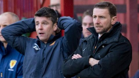 Manager Ian Baraclough (right) has so far failed to reverse Motherwell's fortunes.