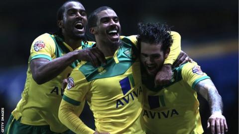 Norwich City celebrate Bradley Johnson's winner against Blackburn