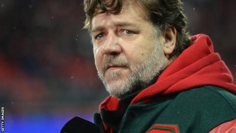 Crowe travelled to England to watch South Sydney in action