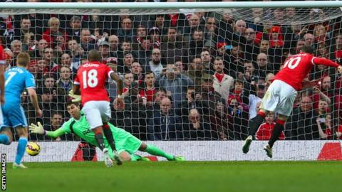 Manchester United striker Wayne Rooney scores a penalty against Sunderland
