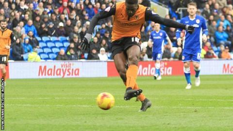 Bakary Sako puts Wolves 1-0 up against Cardiff