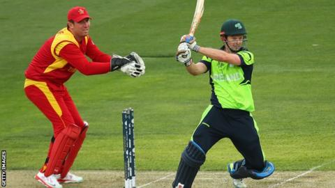 Ed Joyce and Brendan Taylor in action in the World Cup game in Hobart