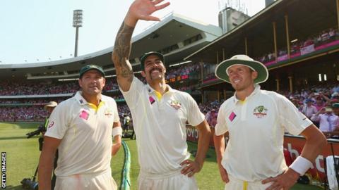 Australia pacemen Ryan Harris, Mitchell Johnson and Peter Siddle