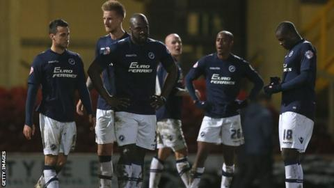 Millwall players after their FA Cup third-round defeat at Bradford