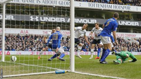 Tottenham striker Harry Kane slots in the opener for his side against Leicester