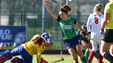 Anna O'Flanagan celebrates after scoring Ireland's second goal