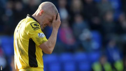 Jim Goodwin holds his head in his hand during the defeat to St Johnstone