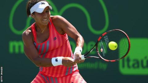 Heather Watson in first-round action in Miami
