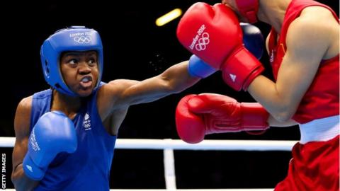 Olympic gold medallist Nicola Adams fights in the final of the lightweight women's category at London 2012