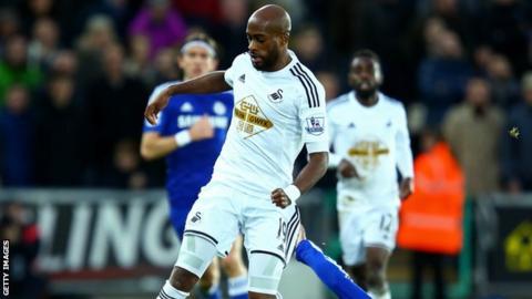 Middlesbrough's on loan Swansea City full-back Dwight Tiendalli