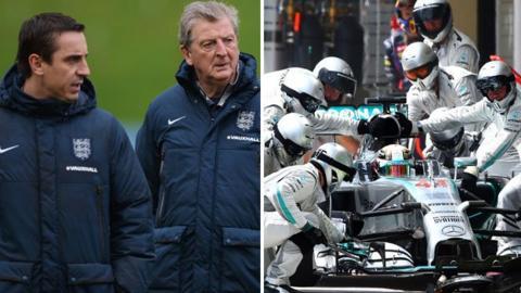 Gary Neville, Roy Hodgson and Mercedes pit team