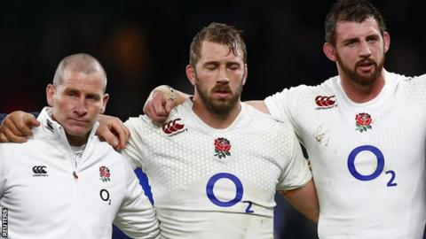 The England team at the end of the Six Nations campaign