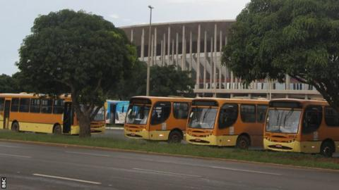 The Mane Garrincha is Brasilia is being used as a bus depot