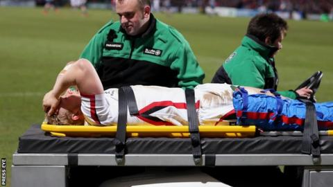 Stuart Olding is stretchered off with a knee injury at the start of Ulster's game against Cardiff Blues at Kingspan Stadium.