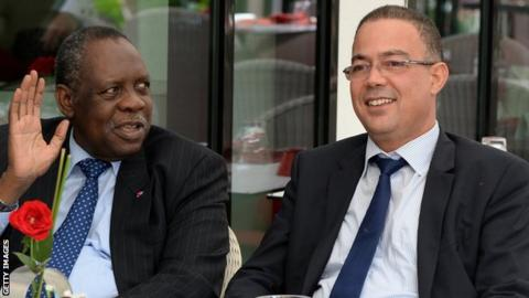 Caf president Issa Hayatou and Royal Moroccan Football Federation president Fouzi Lekjaa