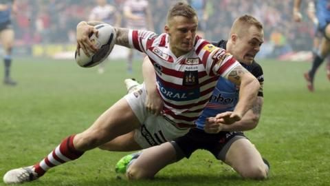 Wigan winger Dom Manfredi scored his third try in two games