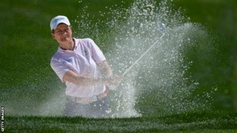 Catriona Matthew playing out of the bunker