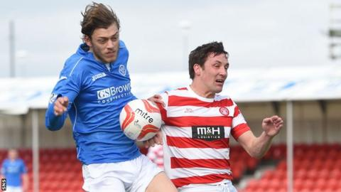 Martin Canning (right), in action against Murray Davidson, was ordered off for a foul on Michael O'Halloran