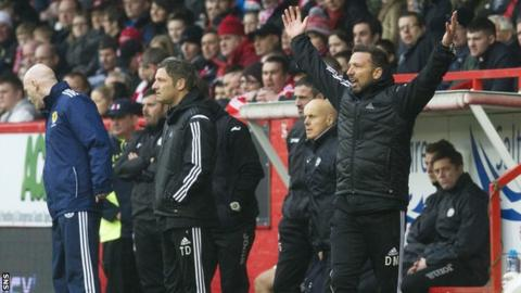 Aberdeen manager Derek McInnes (right) was disappointed by his side's display