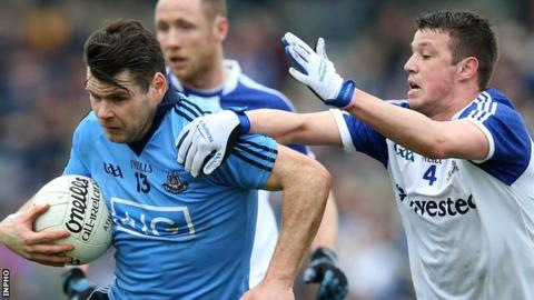 Kevin McManamon of Dublin in possession against Monaghan's Ryan Wylie