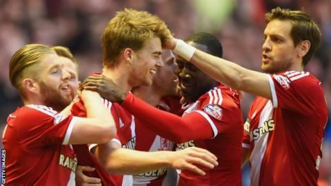 Patrick Bamford (centre) is congratulated after scoring