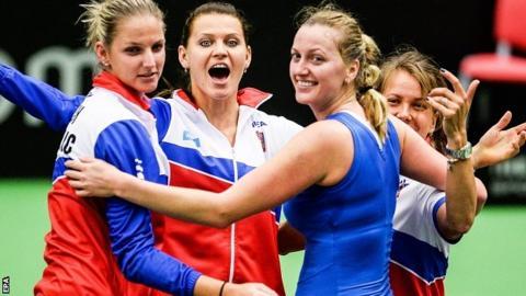 Czech Republic's Karolina Pliskova, Lucie Safarova, Petra Kvitova and Borbora Strycova