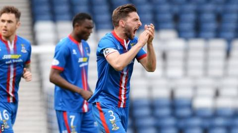 Graeme Shinnie celebrates as Inverness defeat Celtic