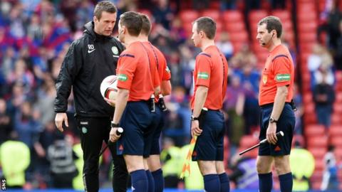 Celtic manager Ronny Deila confronted referee Steven McLean and his officials at full-time