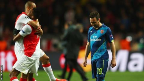 Monaco celebrate beating Arsenal