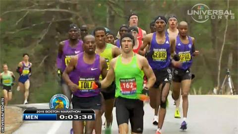 Derek Yorek leads the Boston Marathon
