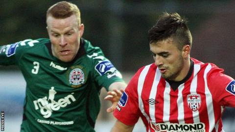 Derry's Mark Timlin in action against Lorcan Fitzgerald of Bohemians