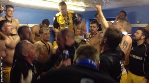 Barrow players celebrate promotion