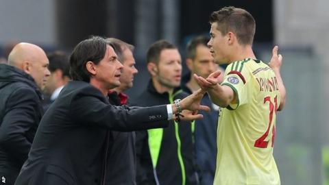 Milan coach Filippo Inzaghi and Marco Van Ginkel
