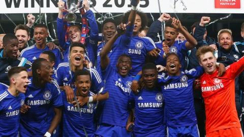 Chelsea celebrate winning the FA Youth Cup