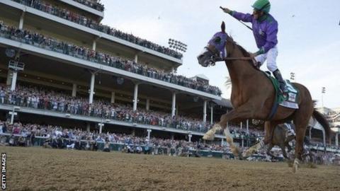 California Chrome winning Kentucky Derby in 2014