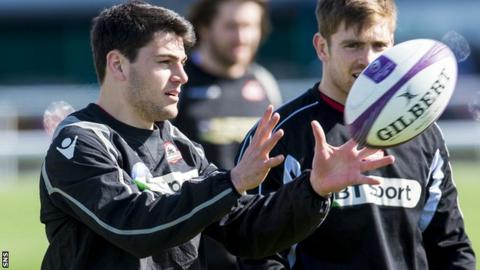 Sam Hidalgo-Clyne in training with Edinburgh