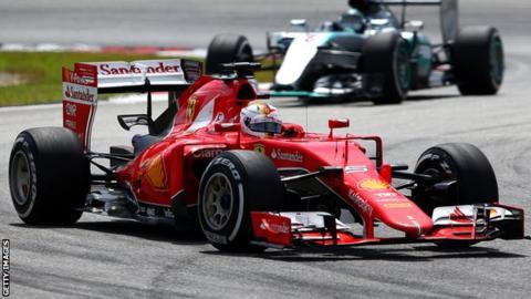 Sebastian Vettel in action at the Malaysian Grand Prix