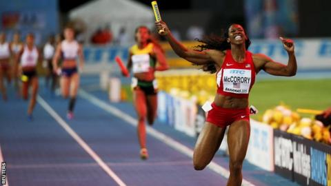 Francena McCorory led the USA to gold in the women's 4x400 relay at the IAAF World Relays Championships in Nassau, Bahamas