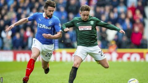 Rangers defender Darren McGregor and Hibs midfielder Scott Allan vie for possession