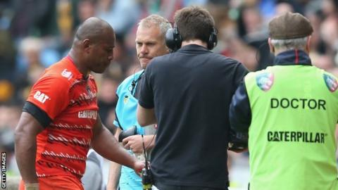 Seremaia Bai leaves the field after being sent off in Leicester's win over Wasps