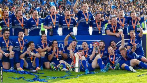 Leinster celebrate winning the 2014 Pro12 title