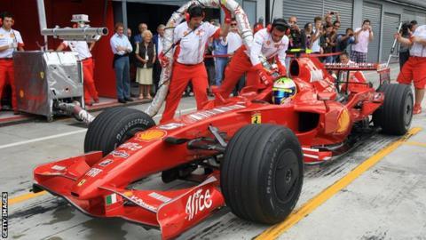 A Ferrari being refuelled in 2008