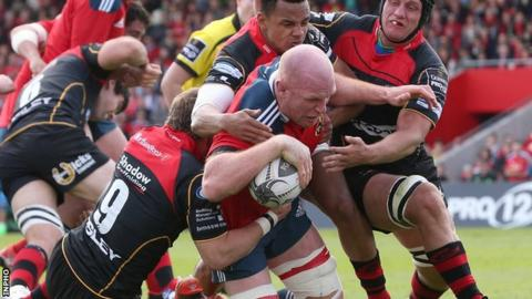 Ireland captain Paul O'Connell scores Munster's fifth try against the Dragons