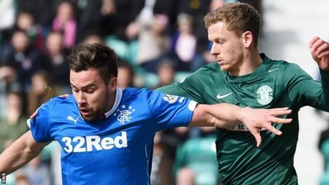 Rangers' Darren McGregor is challenged by Hibs' Scott Robinson