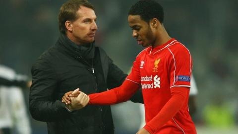 Liverpool manager Brendan Rodgers (left) and winger Raheem Sterling