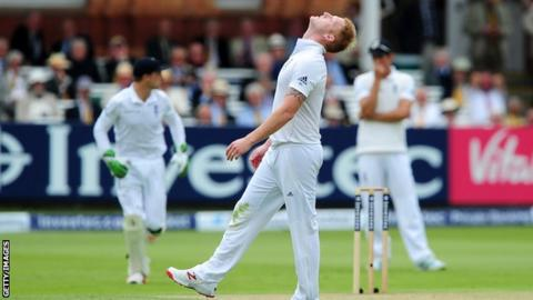 Ben Stokes reacts after Ian Bell drops a catch