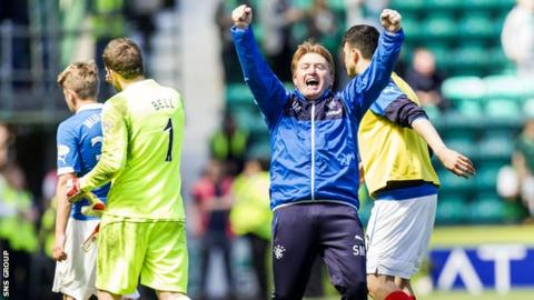Rangers manager Stuart McCall joins in the celebrations at Easter Road