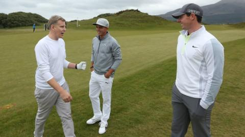 Patrick Kielty hints to world number nine Rickie Fowler and number one Rory McIlroy where they might be going wrong with their swings