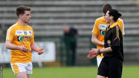 Maggie Farrelly explains one of her decisions in Sunday's Ulster MFC game