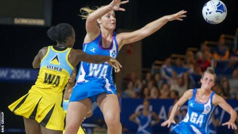 Karin Connell in action for Team Scotland against St Lucia.